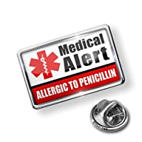 Pin Medical Alert Red ALLERGIC TO PENICILLIN - Lapel Badge - NEONBLOND from NEONBLOND