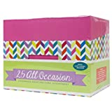 Paper Magic All Occasion Handmade Greeting Card Assortment in Pink Keepsake Organizer Box, 25 Cards