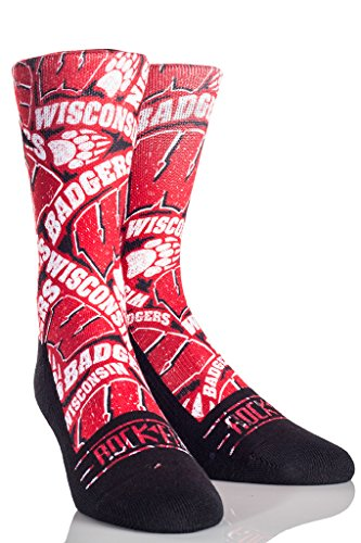 Rock'em Apparel University of Wisconsin UW Badgers Custom Athletic Crew Socks (L/XL, Logo Sketch: Red)