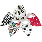 Kiddlets Super Hero Baby Bandana Drool Bibs for Boys and Girls 4 Pack
