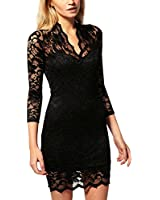 Artfasion Women Round Neck Hollow Out Lace Midi Flared Dress Cocktail Dress