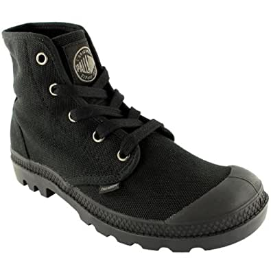 Mens Palladium Pampa Hi Lace Up Ankle High Gusset Canvas Sneakers Boots - 11 - Black