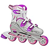 Roller Derby Women's V-Tech 500 Button Adjustable Inline Skate, Grey/Purple, Size 6-9