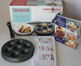 Nordic Ware Ebelskiver Pancake Pan, Breakfast Recipe Book & Eat Well, Laugh Often, Love Much Dish Towel Gift Set