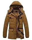 APTRO(アプトロ)メンズ ダウン式コート ダウン式ジャケット 中綿ダウン 冬コート 分厚い 起毛 アウターコートフード付き 暖かい 防寒コート 8818カーキ JP XL(タグXXL)