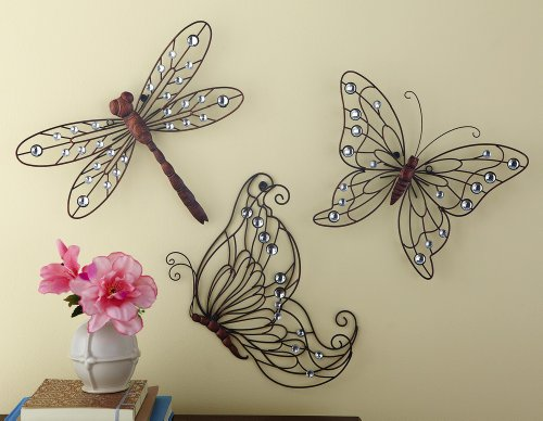 Metal Butterfly Wall Decor Trio - Set Of 3