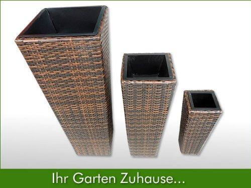 3x blumentopf rattan blumenk bel bertopf planzenk bel polyrattan set vase braun topf discount. Black Bedroom Furniture Sets. Home Design Ideas