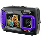 Ivation 20MP Underwater Shockproof Digital Camera & Video Camera w/Dual Full-Color LCD Displays - Fully Waterproof & Submersible Up to 10 Feet (Purple)