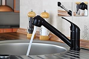 Noir Brillant robinet mitigeur de cuisine douchette extensible