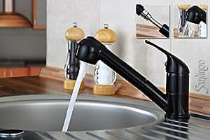 Noir Brillant robinet mitigeur de cuisine douchette extensible sanlingo