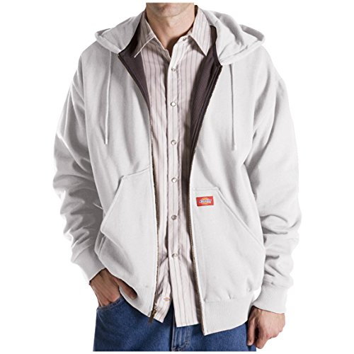 Dickies Men's Thermal Lined Zipper Hooded Sweat Jacket (L, White) (Dickies Thermal Hoodie compare prices)