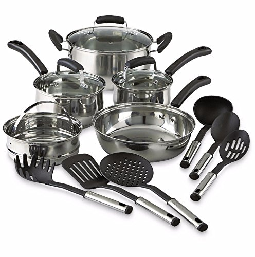 14-Piece Pots And Pans Stainless Steel Cooking Kitchen Nonstick Cookware Set NEW (Cusinart Cast Iron Dutch compare prices)