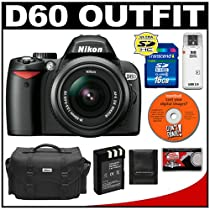 Nikon D60 Digital SLR Camera with 18-55mm AF-S VR Zoom Lens + 16GB SD Card + EN-EL9 Battery + Case + Cameta Bonus Accessory Kit