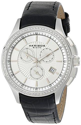 Akribos XXIV Women's AK615SS Grandiose Crystal Black Leather Strap Watch