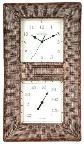 Chaney Instrument 10-Inch by 16-Inch Wicker Thermometer/Clock Combo