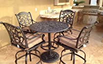 Hot Sale Heritage Outdoor Living Flamingo Cast Aluminum 5pc Bar Set w/ 42? Round Bar Table - Antique Bronze