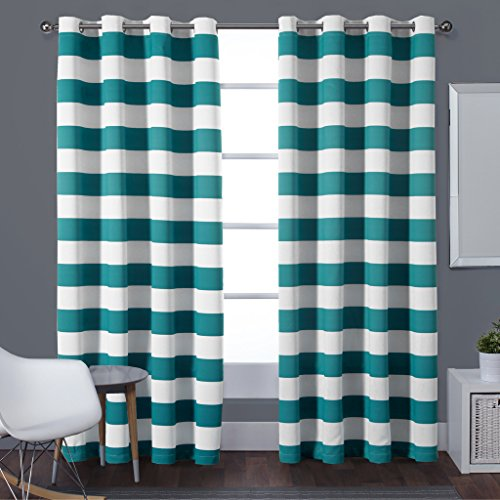 Turquoize Nautical Room Darkening (2 PANELS), Grommet Top, Light Blocking Curtains, 52W by 84L Inch,Blackout, Wave Stripes Pattern, Aqua, Sold by Pair (Thermal Striped Pair Of Curtains compare prices)