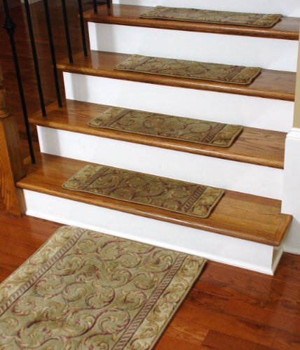 Premium Carpet Stair Treads Meadow Scrollwork 13 PLUS A Matching 5
