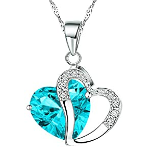KATGI Fashion White Gold Plated Diamond Accent Austrian Crystals Heart Shape Pendant Necklace by KATGI