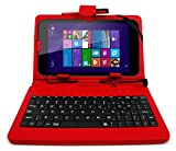DURAGADGET Deluxe QWERTY Keyboard Folio Case in Red for the NEW Linx 8-inch Tablet - Eco-Friendly Faux Leather with Built-In Stand and FREE Stylus Pen