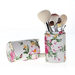 Be Nice Flower Makeup Brush Holder Cup + 12Pcs Professional Makeup Brushes Set-Perfect Size for your travel Case