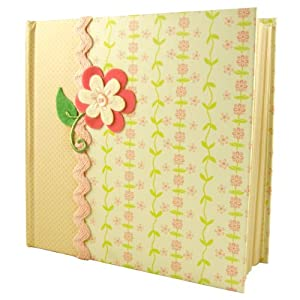 Jomoval C.R. Gibson - Álbum de fotos de bebé (capacidad para 200 fotos), diseño de flor, color crema en BebeHogar.com