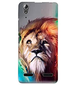 ColourCraft Lion Look Art Design Back Case Cover for LENOVO A6000