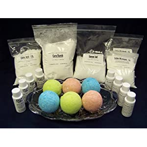 Complete Bath Bomb Starter Kit, 2 lbs. Baking Soda, 1 Lb. Citric, 1 lb. Corn Starch, 1 lb. Epsom Salt, 4 x 1 oz. fragrances, 4 x 1 oz. FD+C = Strawberry Red, Lemon Yellow, Sky Blue, Mint Green