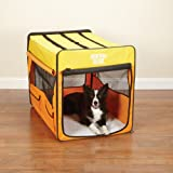 Guardian Gear Collapsible Dog Crate, Large, Orange/Yellow