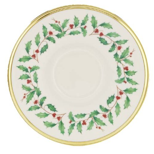Lenox Holiday Gold Banded Ivory China Saucer
