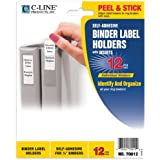 C-Line Self-Adhesive Binder Label Holders for 1/2-Inch Binders, 1/2 x 1-5/8 Inches, 12 per Pack (70012)