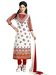 White Cotton Printed Unstitched Dress Material