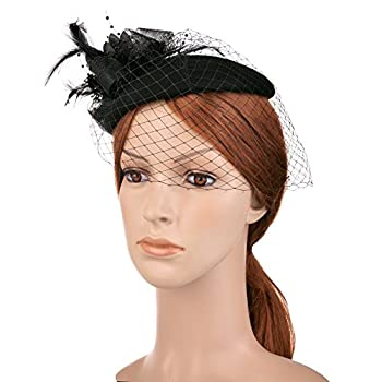Vbiger Women's Fascinator Wool Felt Pillbox Hat Cocktail Party Wedding Bow Veil