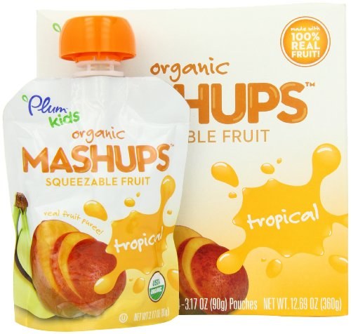 Plum Kids Organic Fruit Mashups Tropical 4 Count Pack of 6