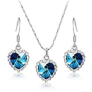 [Flower's Secret (TM)] Swarovski Elements Crystal Heart of the Ocean Titanic Necklace 18