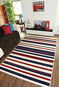 Milan Cream, Red & Navy Blue Stripe Rug 1114-X44 - 4 Sizes by The Rug House