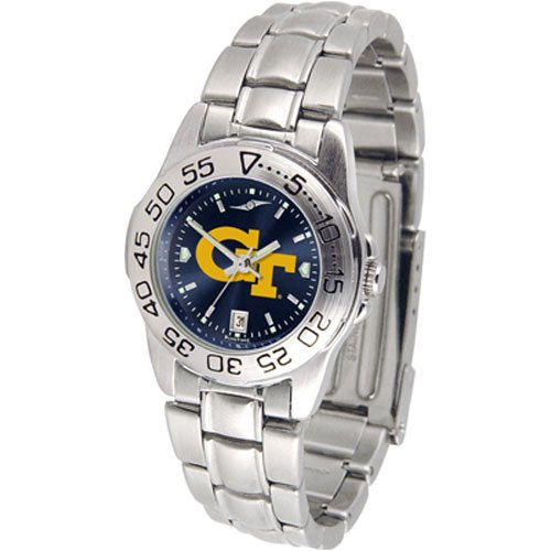 Suntime Georgia Tech Yellowjackets Ncaa Anochrome Sport Ladies Watch Metal Band