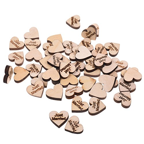 BCP Pack of 100pcs Heart Shaped Just Married Rustic Wooden DIY Wedding Decorations