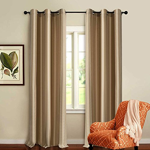 Deco Essential Curtain 3 Tone Stripe Beige 7.5 ft