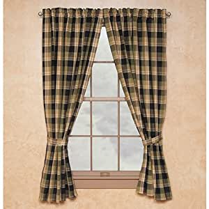 Greenbriar Lined Window Curtain Panel Black Green Cream Gold Plaid Country