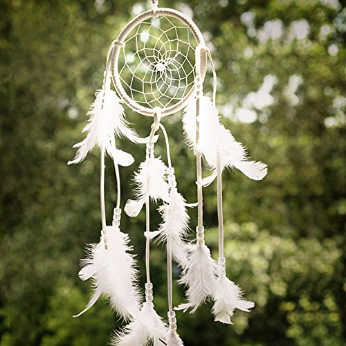 Yansanido Dream Catcher Handmade Traditional white Beaded Feathers Approx 4.33