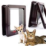 ペットが自由に行き来できる 小型犬・猫用のペットドア 出入口 ドア 扉 犬 猫 ペット ゲート キャットドア 猫、犬用 4WAY 色 サイズ 選択 可 (S, 茶色)