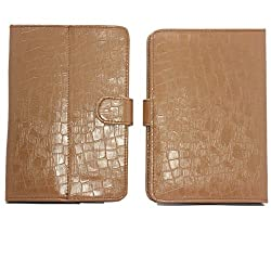 7&Seven G11 Croc Flip Flap Case Cover Pouch Carry Stand For Xolo Play Note Light Brown