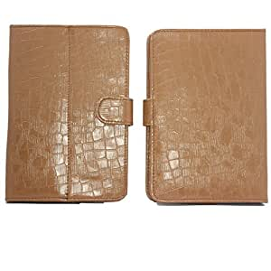 7&Seven G11 Croc Flip Flap Case Cover Pouch Carry Stand For BsnlâTab 705 - Light Brown