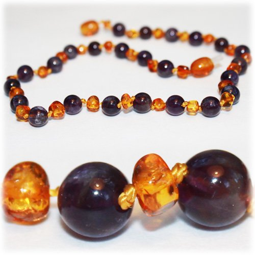 Certified Baltic Amber Teething Necklace for Baby (Amethyst/Honey) - Anti-inflammatory ...