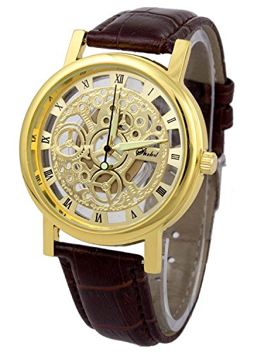 Addic Skeleton Transparent Watch Brown Belt Analog Men's Watch and Free Earrings For Your Love One.