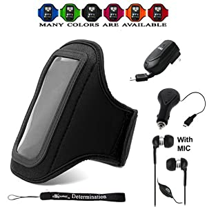Complete On The Go Smart Kit: Comfy Sport band / Workout Armband Adjustable Neoprene Velcro Strap For HTC Wildfire S/Evo 3D/Evo 4G/HD2/MyTouch 4G/MyTouch 4G Slide/Status S/7 Pro/Sensation 4G/HD7/HTC Trophy/Evo Shift 4G/Droid Incredible/Droid Incredible 2/Arrive/Freestyle/ThunderBolt/Inspire 4G/Surround 4G/Salsa/ChaCha/Desire S/Radar/Hero S/Rhyme Includes a Retractable Home and Car Charger with a HandsFree earbuds ear phones // More Colors Available