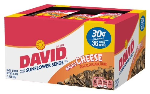 David Seeds In-Shell Sunflower Seeds Nacho, 0.8-Ounce Packages in 36-Count Boxes (Pack of 9) (Cheese Flavored Sunflower Seeds compare prices)