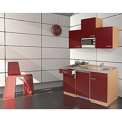 respekta Single Kuche Kuchenzeile Kuchenblock 150 cm buche Nachbildung rot inkl. Mikrowelle KB 150 BRMI