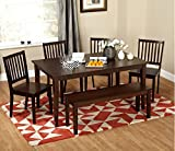Shaker Espresso 6-Piece Dining Table Set with Bench, Made of Elegant Rubber Wood